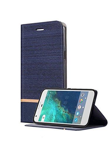 Asus Zenfone 4 Selfie Pro ZD552KL Funda, ajuste ultra delgado, Kickstand, ranura para tarjetas, parachoques TPU, Anti-Scratch, Flip de cuero PU Wallet caso para Asus Zenfone 4 Selfie Pro ZD552KL (Azul)