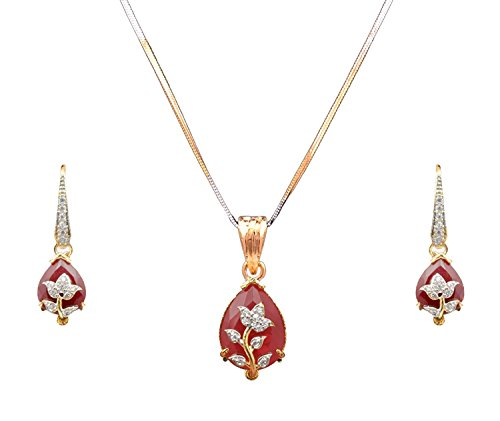 Cardinal American Diamond Latest Design Stylish Party Wear Pendant Necklace Set with Earring and Chain For Women/Girls
