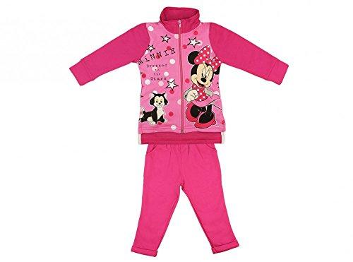 Disney Minnie Mouse Mädchen- Baby- SPORT-ANZUG GEFÜTTERT zweiteilig, Sweat-Jacke mit langer Hose, GRÖSSE 86, 92, 98, 104, 110, Jogging-Anzug zum Wohlfühlen, Freizeit-Anzug, WEICH Größe 86