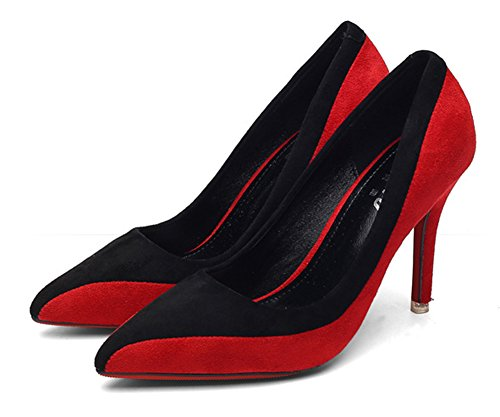 Aisun Damen Elegant Kontrastfarben Low Top Spitz Zehen Stiletto High Heels Pumps Rot