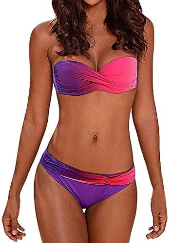 Socluer Damen Zwei Stück Urlaub Bikini Set Sport Hoch Taile Strand Tankini Set Badeanzüge Bademode Swimsuit (XL(DE 40/42), Lila)