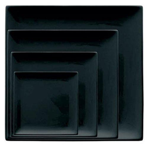 Olympia y078 Assiette carrée, noir (Lot de 6)