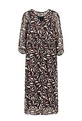 Expresso Jessica Damen schwarzes Midi-Kleid mit Metallic-Verarbeitung und 3/4-langem Arm Schwarz 42