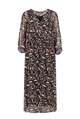 Expresso Jessica Damen schwarzes Midi-Kleid mit Metallic-Verarbeitung und 3/4-langem Arm - Iv Arm
