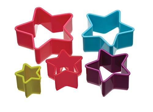 Ausstechformen Kleine Kunststoff (Colourworks  Kunststoff-Sternform-Keksausstecher im Fünfer-Set)