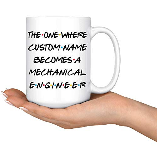 DKISEE Personalized Mechanical Engineer Coffee Mug, Engineer Promotion Present, Best Mechanical Engineer Career Job, Appreciation Gift Men and Women, 15 Ounce Coffee Mug (Mug Engineer Mechanical)