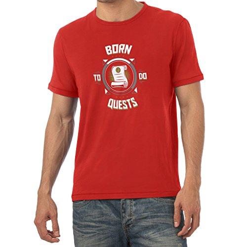 TEXLAB - Born to do Quests - Herren T-Shirt, Größe XL, rot (Dragon Lord Kostüm)