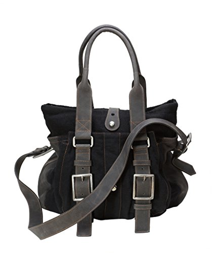Damen Taschen - Leder Schultertasche 300010 Schwarz