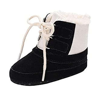 AOOPOO Baby Boots Toddler Baby Girl Boys Autumn Winter Baby Walking Boots Keep Warm Hight Cut Sneaker Anti-Slip Soft Sole Shoes for 3-12 Months Babies(Black,3-6months)