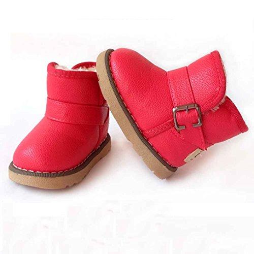 Chaussures Bébé,Fulltime® Bébés Garçons Filles Coton en cuir d'hiver Martin Boots Warm Chaussures Pastèque rouge