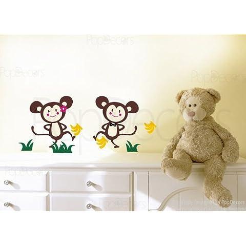 PopDecors - Mono fdcp y mono hermana - Custom hermoso árbol etiquetas de la pared para habitaciones infantiles adolescente del papel pintado murales wallkraft globalpowder niños pegatinas de decoración infantil caselio dodoskinz