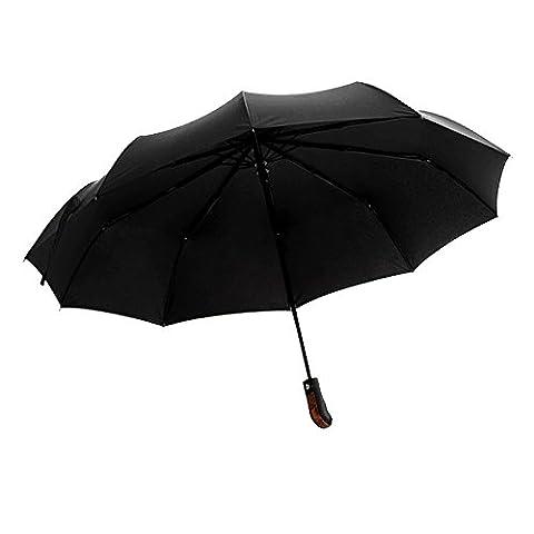 WILLIAM&KATE Bigger Windproof 10 Bone Durable Fully Automatic Three Fold Business Pure Black Umbrella