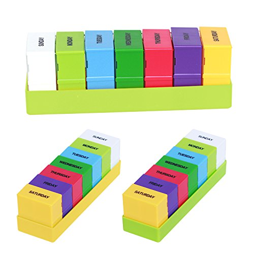 Pillendose 7 Tage Medikamentendosierer Pillenbox mit 28 Fächer Tablettenbox, AM/PM Tablettendose Wochendosierer Morgens Mittags Abends Nachts, Grün