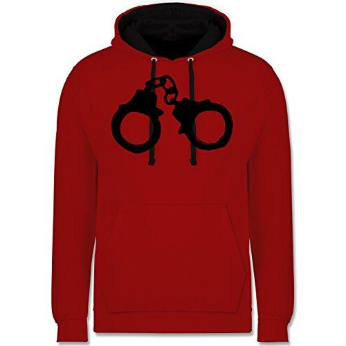 Symbole - Handschellen - Kontrast Hoodie Rot/Schwarz