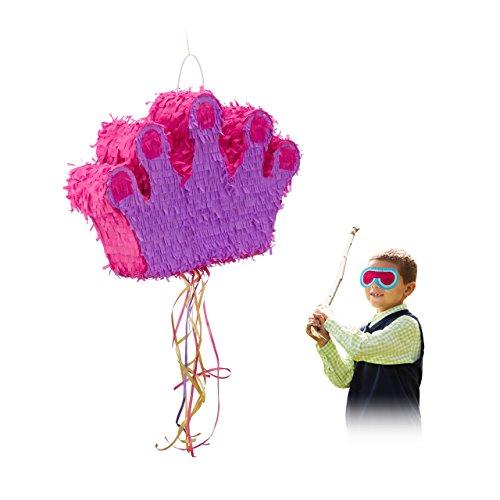 Relaxdays Pinata Krone, zum Aufhängen, Kinder, Mädchen, Geburtstag, Befüllen, Zugpinata, HBT: 31 x 49 x 10 cm, lila-pink