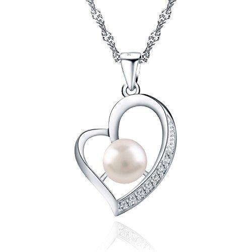 Wonvin Herz Perlen Anhänger Halskette, 925 Sterling Silber Zirkonia Intarsien Chic Herz Süßwasser Zucht Perlen Anhänger 18in für Frauen Mädchen ein hübsches Geschenk (Frauen-herz-tag)