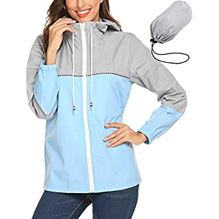 zhenwei Womens Jacket Waterproof Rain Coat Packable Casual Jacket Breathable Lightweight Comfortable Ladies Coat for Travelling, Walking