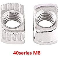 EU20-M4 Mutter Nickel Beschichtete Kohlenstoffstahl Schieben T Mutter T St/üCk Muttern F/ür Aluminiumprofil Zubeh/ör Packung Mit 50 St/üCke T-Slot Hammer