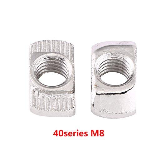 Akozon T Muttern, T-Nutmutter M4/M5/M6/M8 T-nut Hammerkopf Mutter Befestigung Kohlenstoffstahl Verzinkt für Europäische Standard Aluminiumprofil für Extrusion 50 stücke(EU40-M8*19.5 * 10)