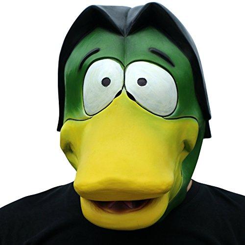 Donald Duck Ente Enten mit Schnabel Maske mask Kopf aus sehr hochwertigen Latex Material mit Öffnungen an Augen Halloween Karneval Fasching Kostüm Verkleidung für Erwachsene Männer und Frauen Damen Herren gruselig Grusel Zombie Monster Dämon Horror Party Party
