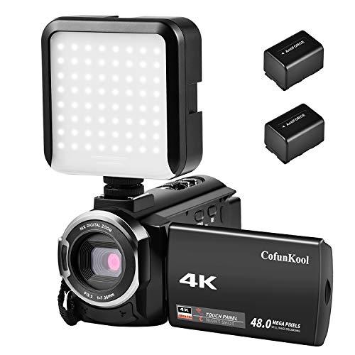 "CofunKool Camcorder 4K 16X Digital Zoom Video Camcorder IR -Nachsicht Funtion 3.0"" IPS LCD Touchscreen WLAN Videokamera mit LED Kamera Licht + 2 Batterien"