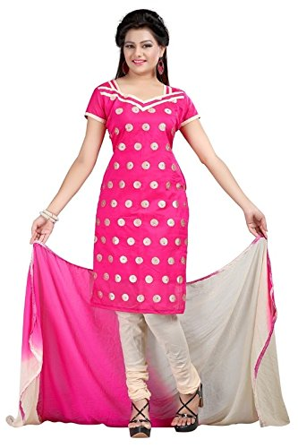 I-Brand Pink Color Chanderi Fabric Embroideried Salwar - Suit (Semi-Stitched) ( New Arrival Latest Best Design Beautiful Dresses Material Collection For Women and Girl Party wear Festival wear Special Function Events Wear In Low Price With High Demand Todays Special Offer and Deals with Fancy Designer and Bollywood Collection 2017 Punjabi Anarkali Chudidar Patialas Plazo pattern Suits )  available at amazon for Rs.367