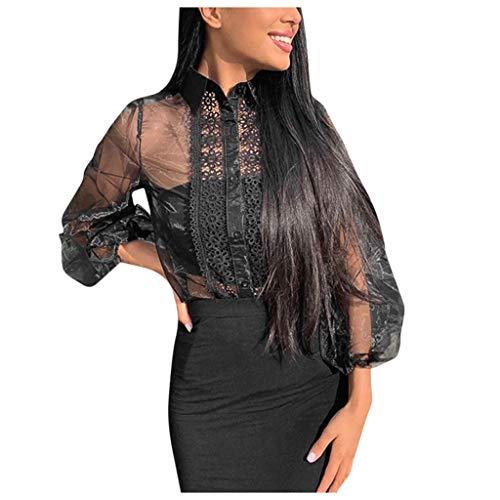 Damen Freizeit Oberteile Sexy Mesh Perspektive Elegante Spitze Laternenärmel Tunika Sexy Top Fashion Party Bluse Langen Ärmeln Blouse -