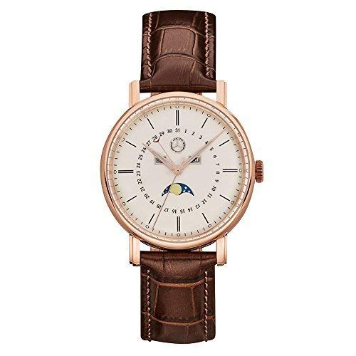 Mercedes-Benz Genuine Men's Wrist Watch Classic Rose Gold Stainless Steel / Calf Leather 41mm