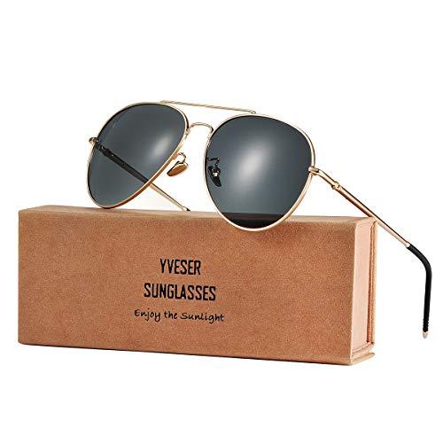 Yveser Polarisierte Sonnenbrille Pilotenbrille für Männer und Frauen Yv1816 (Schwarze Linse/Goldener Rahmen)