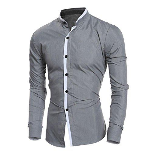 Malloom Männer Herren Casual Langarm Stehkragen Slim Fit Freizeit Hemd Business Hemden Shirts Grau