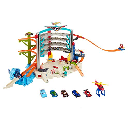 Hot Wheels Ultimate Garage, Connectable Play Set with 4 Diecast Cars and Helicopter, Mini Toy Cars, Toy Garage