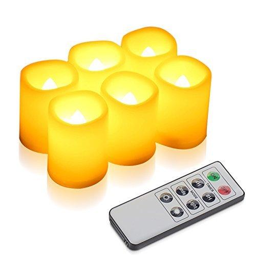 Kohree set di 6 candele a led con controllo remoto timer, candele inodore senza fiamma , dia. altezza 3.8 cm x 4.8 cm, candele operative a batteria, decorazioni natalizie / matrimonio