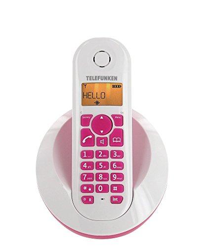 Telefunken Peps TB201 - Teléfono inalámbrico DECT, manos libres, color rosa y blanco