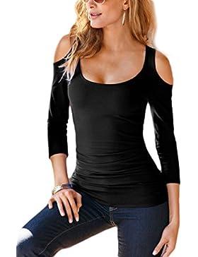 Las Mujeres Verano Solid Hot Off - Hombro Scoop Cuello Casual T Shirt Top