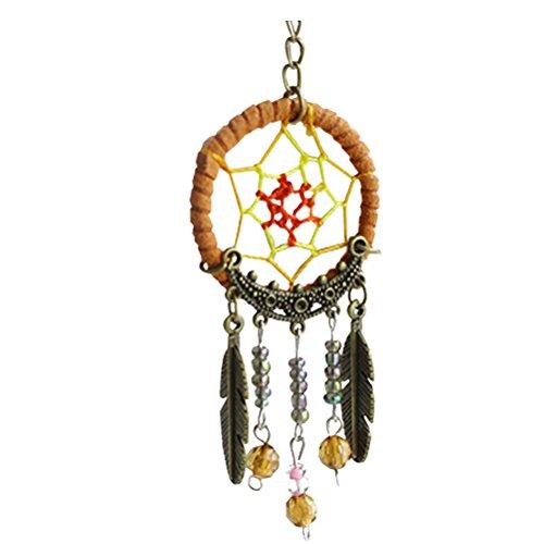 Pixnor Borlas de plumas hecho a mano encantos turquesa colgante atrapasueños llavero llavero para el amigo de la familia