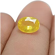 Yellow Sapphire Cultured Pukhraj Stone Original Certified 7.48 Ratti Gemstone by KHUSHI Sales