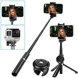 Bastone Selfie, SAWAKE bluetooth Treppiede Table Camera 2 in 1, Selfie Stick con telecomando, senza fili in alluminio Estensibile Selfie Stick Monopiede per iPhone Android Samsung Huawei XiaoMi (nero)