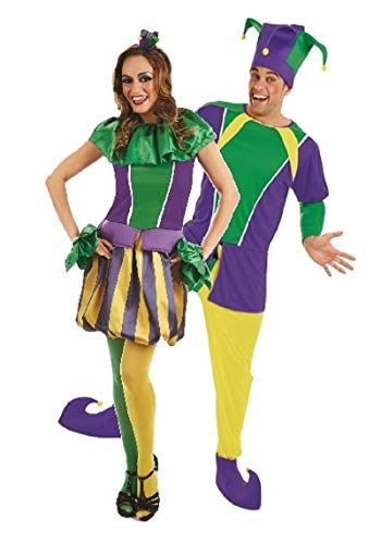 Couples Ladies & Mens Carnival Court Jester Medieval Circus Entertainers Fancy Dress Costumes Outfits (Ladies UK 12-14 & Mens Medium)