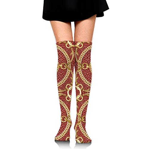 rouxf Knielange Socken Goldene Ketten und Bänder Über Kalb Kniestrümpfe Wintermode Kleid Socke 65 cm Länge -