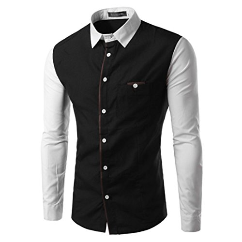 Men's Patchwork Long Sleeve Slim Cotton Stylish Shirts Black