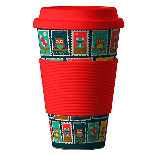 Bambus Becher wiederverwendbare Kaffeetasse mit dichtem Deckel, Trinkloch und Silikonhülle - Bamboo Eco ECoffee Cup - lebensmittelecht und spülmaschinenfest 400 ml Stempel rot