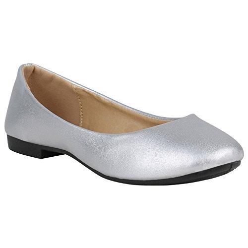 Stiefelparadies Klassische Damen Ballerinas Slippers Flats Übergrößen Flache Schuhe Metallic Spitze Glitzer Abendschuhe Flandell Silber Metallic