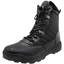 Yudesun Zapatos para Hombre Botas Militares Botines Desert - Nordic Walking Calzado de Trabajo Botas de Servicio Militar Tobillo Táctico Cuero Ejército Aire Libre y Deporte Ligero Cremallera