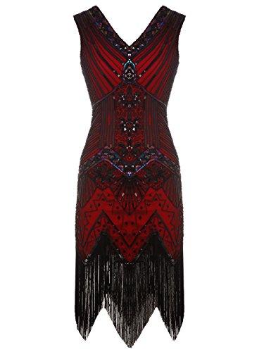 apper doppelte V-Ausschnitt Pailletten Strass verschönert fransen Kleid D20S003(XS,Dunkelrot) (Kostüm The Great Gatsby)