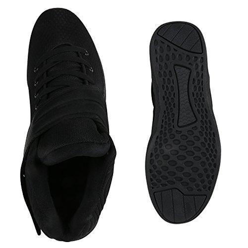 Stylische Herren Sportschuhe High Top Sneakers Basketball Schuhe Schwarz