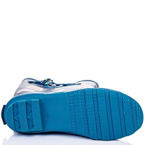 SPYLOVEBUY IGLOO Femmes Ajustable Boucle Plates Bottes de Pluie Geo Bleu Campervan