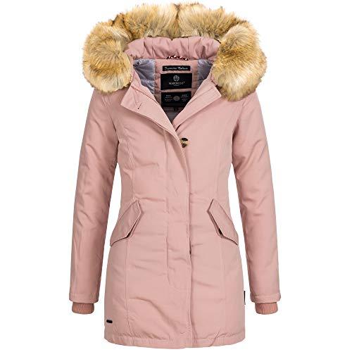 Marikoo KARMAA Damen Jacke Parka Mantel Winterjacke warm gefüttert Luxus XXL Kunstpelz 7 Farben, Größe:L - 40;Farbe:Rosa