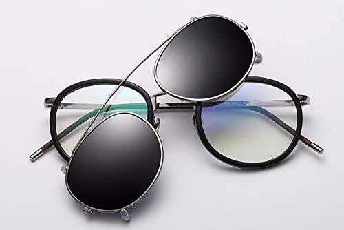 WSKPE Sonnenbrille Linse Abnehmbarer Polarisierte Sonnenbrillen Clip Auf Metall Brillen Sonnenbrillen Streuscheibe, Schwarz