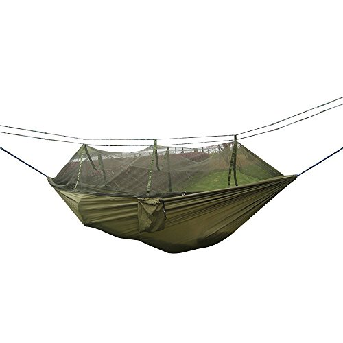 camping hammock, vzer mosquito net outdoor travel bed lightweight parachute fabric double hammock for indoor, camping, hiking, backpacking, backyard - green