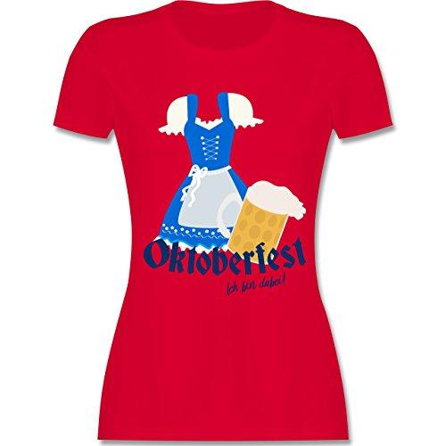 Oktoberfest Damen - Oktoberfest - ich bin dabei! - tailliertes Premium T-Shirt mit Rundhalsausschnitt für Damen Rot
